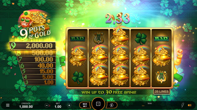 9 Pots of Gold Layout